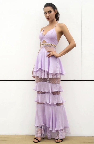 Tyra Purple Strappy Tiered Frill Maxi Dress - Fashion Genie Boutique USA Alt