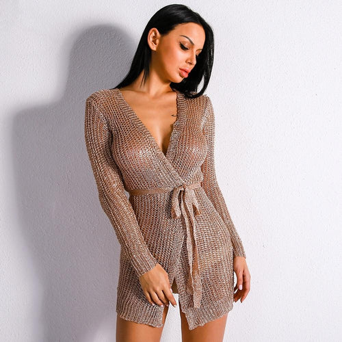 Abbie Metallic Gold Mini Cardigan Dress - Fashion Genie Boutique USA Alt