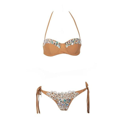 Beach Beauty Nude Crystal Bikini Swimsuit - Fashion Genie Boutique USA Alt
