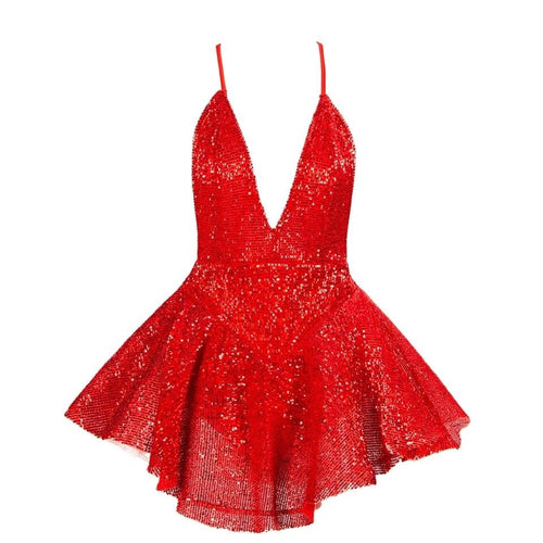 Weekend Cocktails Red Plunge Sequin Playsuit - Fashion Genie Boutique
