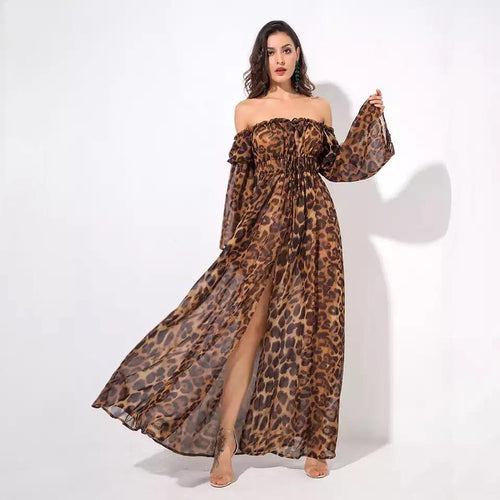 Flass Bardot Leopard Print Maxi Dress - Fashion Genie Boutique