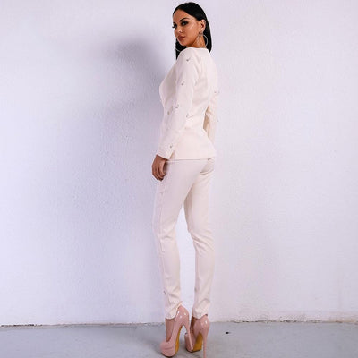 Bella Beige Pearl Pants and Blazer Co-Ord - Fashion Genie Boutique USA Alt