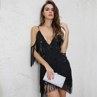 Doll Face Black Fringed Mini Party Dress - Fashion Genie Boutique
