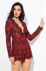 Bordeaux Lust Red Crochet Long Sleeve Romper - Fashion Genie Boutique USA Alt