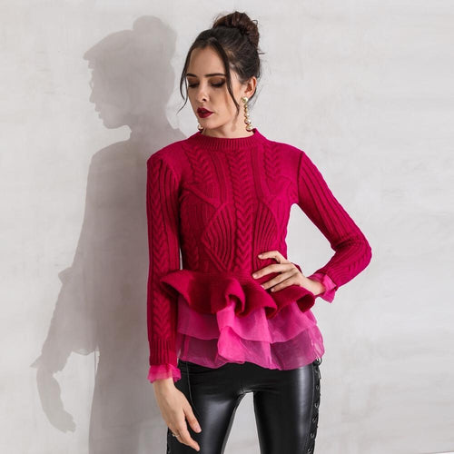 Cold Outside Red Frill Knitted Peplum Sweater - Fashion Genie Boutique USA Alt