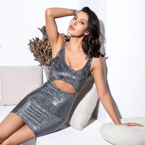 Hey Shorty Silver Cut Out Reflective Mini Dress