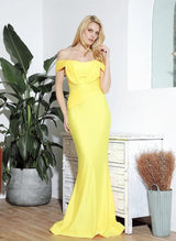 She's Flawless Yellow Bardot Fishtail Maxi Dress