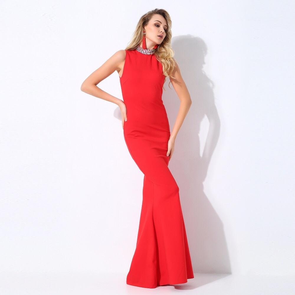 a1a256d64a9 Glam Squad Red Crystal Embellished Fishtail Maxi Dress – Fashion Genie  Boutique USA