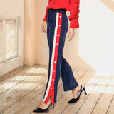Laidback Lady Navy Popper Lounge Trousers - Fashion Genie Boutique