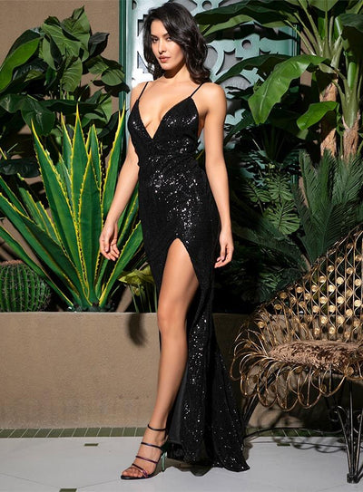 Elegant Bliss Black Plunge Sequin Spilt Maxi Dress
