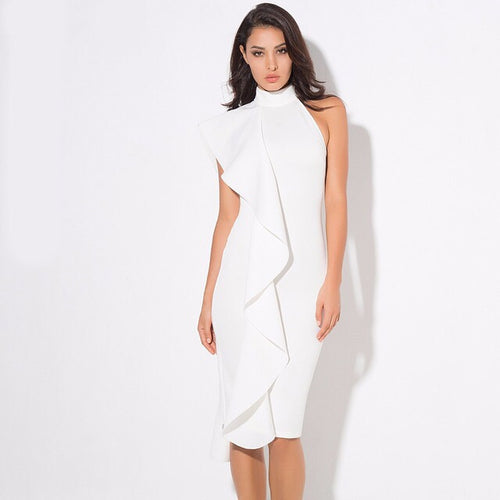 Make Your Move White Frill Bodycon Midi Dress - Fashion Genie Boutique USA Alt