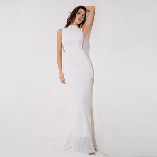 Million Dollar Babe White Sequin Maxi Fishtail Gown Dress - Fashion Genie Boutique