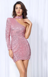 Mystique Pink Sequin One Shoulder Mini Choker Dress - Fashion Genie Boutique USA Alt