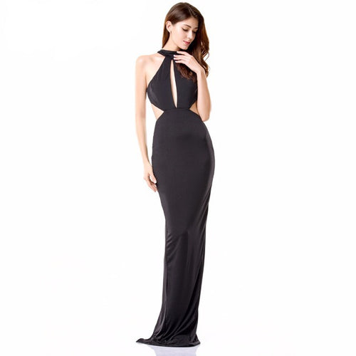 Own the Night Black Cut Out Maxi Dress - Fashion Genie Boutique USA Alt