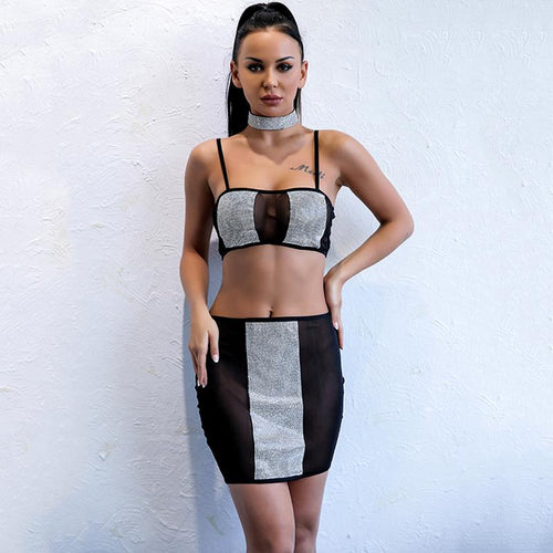 Safe Not Sorry Black Sequin Crop Top Mini Skirt Two Piece - Fashion Genie Boutique