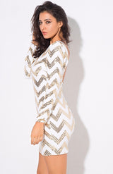 Life Of The Party Gold And White Sequin Long Sleeve Mini Dress - Fashion Genie Boutique USA Alt