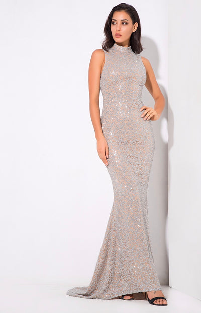 Felicia Silver Glitter Embellished Maxi Gown Dress - Fashion Genie Boutique USA Alt