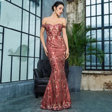 Dress Me Pretty Red Bardot Glitter Fishtail Maxi Dress