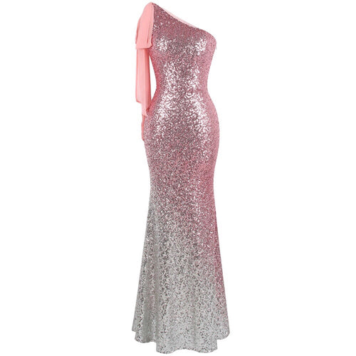 Oh My Posh Pink & Silver Sequin Gradient One Shoulder Maxi Gown Dress - Fashion Genie Boutique USA Alt