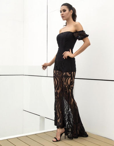 Hotline Black Bardot Lace Maxi Dress