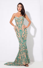 Saints & Sinners Green Glitter Strapless Maxi Dress - Fashion Genie Boutique USA Alt