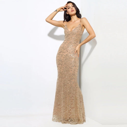 Sweet Delight Gold Glitter Plunge Maxi Gown Dress - Fashion Genie Boutique USA Alt