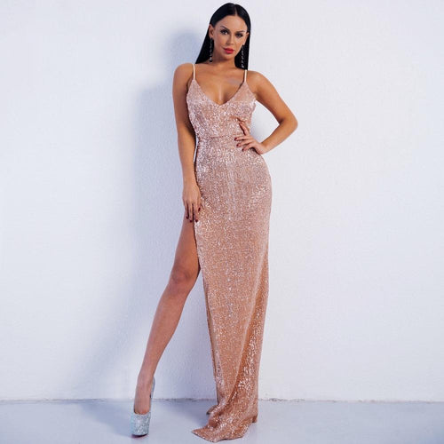 Goodness Gracious Champagne Sequin Maxi Party Gown Dress - Fashion Genie Boutique