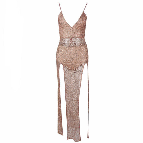 Blind Love Gold & Nude Glitter Embellished Double Split Maxi Dress - Fashion Genie Boutique