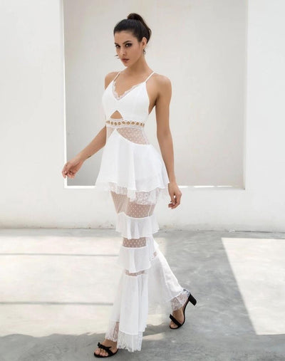Tyra White Strappy Tiered Frill Maxi Dress