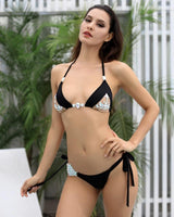 Nouveau Black Crystal Embellished Bikini Swimsuit - Fashion Genie Boutique