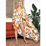 Beautiful Sunset White Floral Long Sleeve Maxi Romper