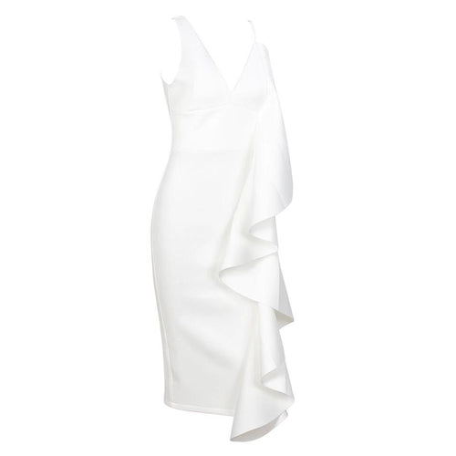 Avery White Ruffle Midi Dress