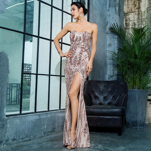 Sweet Vision Rose Gold Strapless Sequin Spilt Maxi Gown Dress - Fashion Genie Boutique