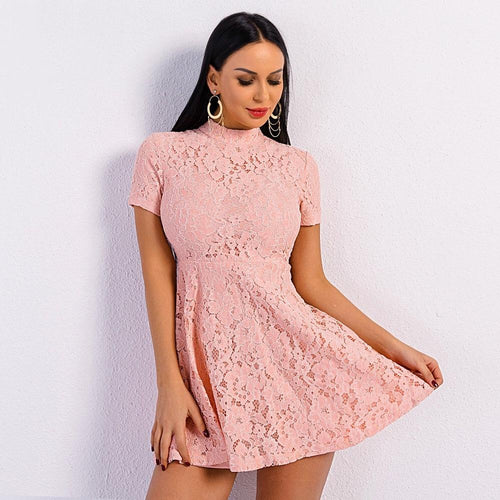 Easy On The Eyes Pink Lace Skater Dress - Fashion Genie Boutique USA Alt