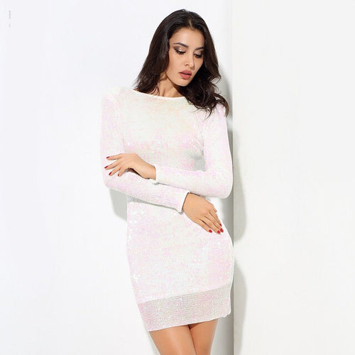 Glam Life White Iridescent Sequin Long Sleeve Mini Dress - Fashion Genie Boutique USA Alt