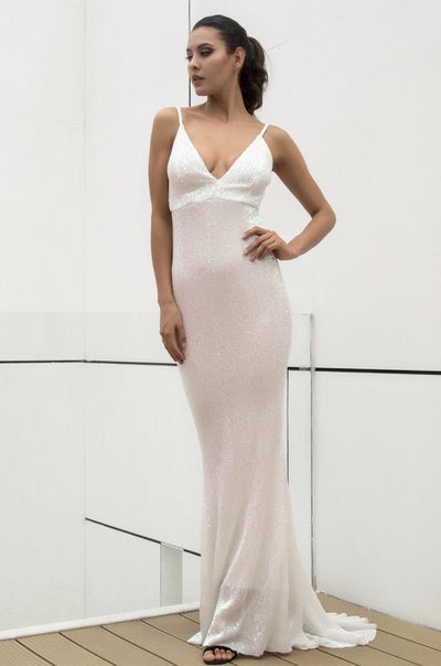 Cotton Candy White Iridescent Sequin Fishtail Maxi Dress - Fashion Genie Boutique USA Alt