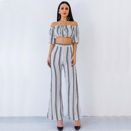 Love Poem Multi Pants & Bardot Crop Top Co-Ord - Fashion Genie Boutique USA Alt