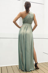 Dream Day Green Lace Asymmetric Satin Maxi Dress - Fashion Genie Boutique