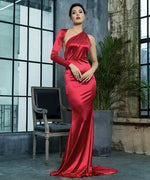 All The Drama Red One Shoulder Satin Maxi Gown Dress