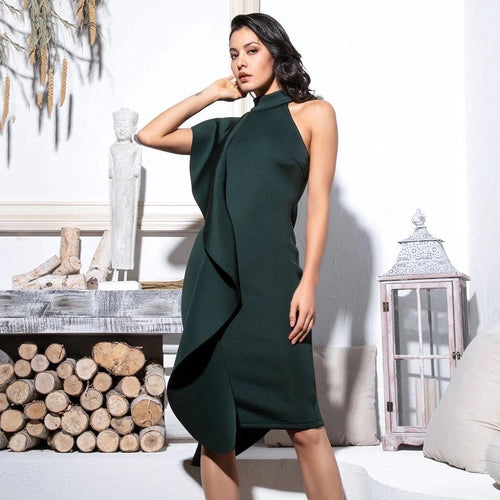 Make Your Move Green Frill Bodycon Midi Dress