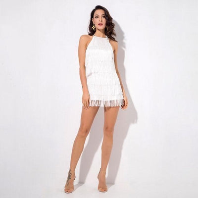Playtime White Fringe Playsuit - Fashion Genie Boutique