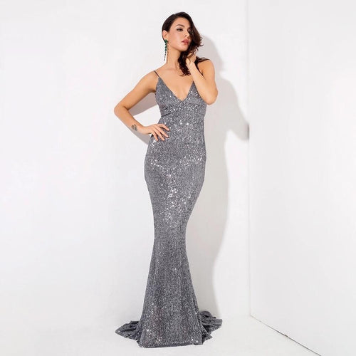 Goal Digger Grey Embellished Sequin Maxi Dress - Fashion Genie Boutique