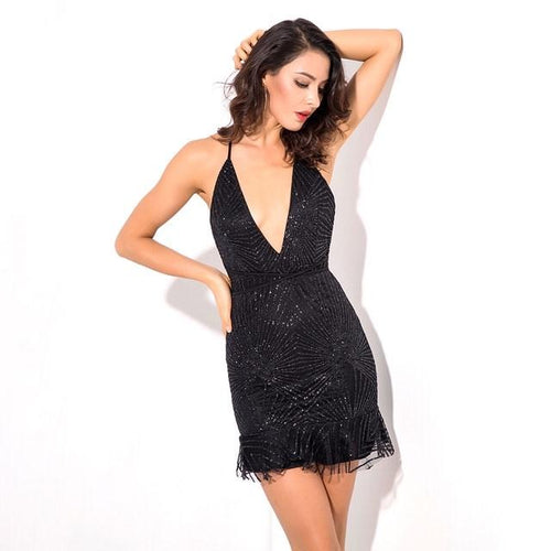 Vegas Beauty Black Glitter Embellished Mesh Mini Dress - Fashion Genie Boutique