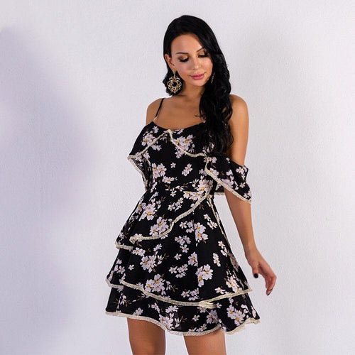 Daisy Doll Floral Cold Shoulder Frill Dress - Fashion Genie Boutique