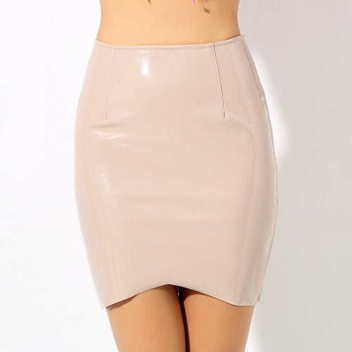 League Of Your Own Nude Faux Leather Mini Skirt - Fashion Genie Boutique USA Alt