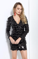 Keep Them Keen Black Long Sleeve Sequin Tassel Mini Dress - Fashion Genie Boutique USA Alt