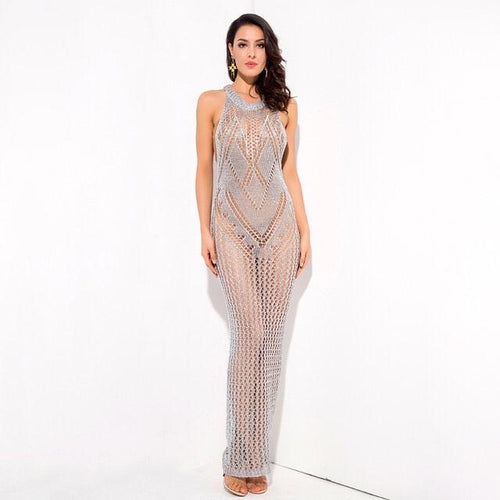 Sun Goes Down Silver Metallic Knitted Maxi Cover Up - Fashion Genie Boutique USA Alt