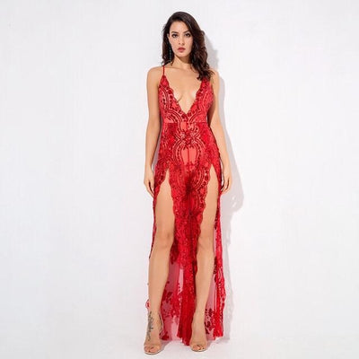 Bad Gal Red Sequin Split Leg Jumpsuit - Fashion Genie Boutique USA Alt