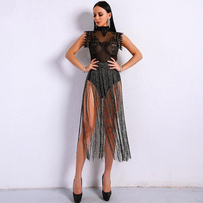 Gamble On Me Black Mesh Sequin Fringe Bodysuit - Fashion Genie Boutique