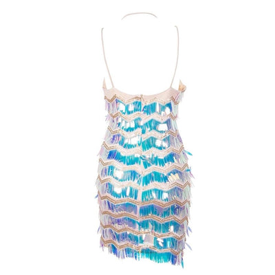 Lisbon Nights Silver Iridescent Sequin Fringe Mini Dress - Fashion Genie Boutique